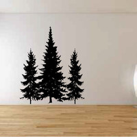 Pine Evergreen Trees Vinyl Wall Decal Sticker