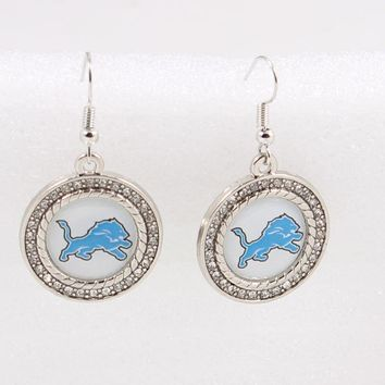 10pairs/lot Detroit Lions Earrings Charms for Fashion Jewelry Earrings Football Fans Sports Earrings Women Jewelry