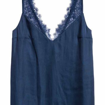 Satin top with lace - Dark blue - Ladies | H&M GB