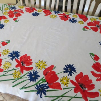 Colorful Vera Newmann Tablecloth Floral Table Linen Red Poppy Flower Vintage Tablecloth Yellow Blue Red Tableware