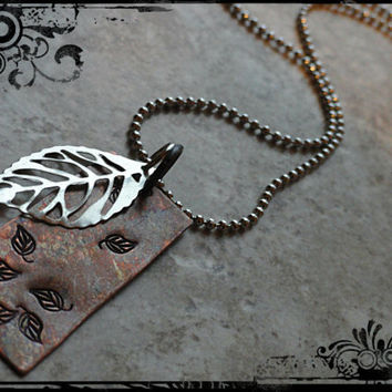 Hand Stamped Copper Falling Leaves Necklace Silver Leaf Charm Necklace Pendant