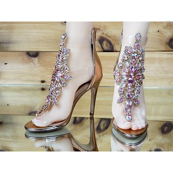 "Bella Luna Rylee Rhinestone Jeweled 4"" High Heel Sandal Shoe Rose Gold 7-11"