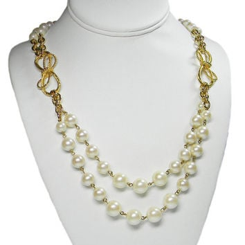 Long Pearl and Bow Necklace Double Strand Chains
