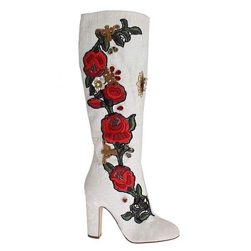 Dolce & Gabbana Roses Crystal Gold Heart Brocade Boots Shoes