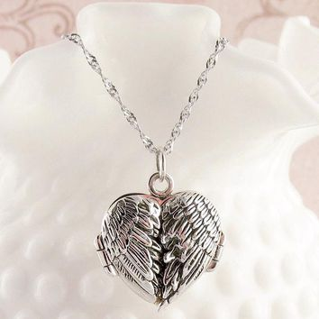Angel Wings Heart Locket Necklace with Message