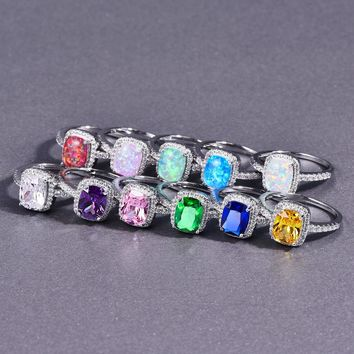 STYLEDOME Opal Stone Rings For Women 2018 New Fashion Cubic Zirconia Silver Color Vintage Ring