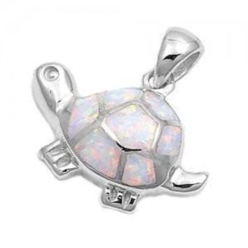 925 Sterling Silver Charm Pendant White Lovely Opal Turtle