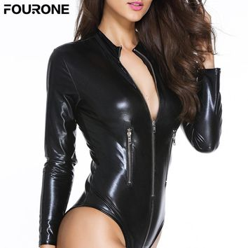 Hot Sale Solid PU Leather Bodysuit Long Sleeve Zip Detail Jumpsuits Playsuit for Women