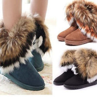 2015 Women Boots Faux Fur Suede Mid Calf Winter Warm Flat Heel Ankle Snow Boots