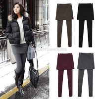 New Women Skirt Leggings Footless Cotton Pleated Tights Stretch Long Pants EN24H