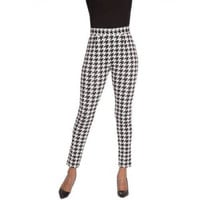 Plus Moda Women's Woven Cigarette Pant, Black/White, X-Large