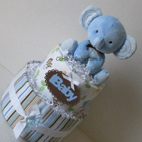 Elephant Diaper Cake, Boys Diaper Cake, Blue Diaper Cake, Baby Shower Decoration, New Baby Gift, New Mom Gift, Baby Shower Diaper Cake