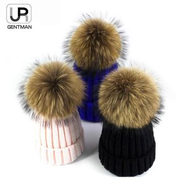 2017 High Quality Real 15cm Mink Ball Pom Pom Beanies Cap Winter Hat For Women New Female Thick Wool & Cotton Warm Knitted Caps