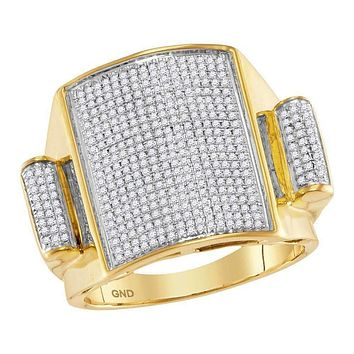 10kt Yellow Gold Men's Round Pave-set Diamond Rectangle Dome Cluster Ring 3/4 Cttw - FREE Shipping (US/CAN)