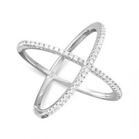 Silver Criss Cross 'X' Ring
