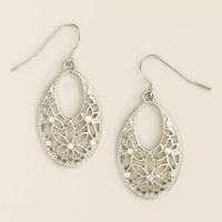 Oval Silver Filigree Drop Earrings - World Market