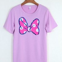 Kawaii Minnie Mouse Bowknot Short Sleeve Round Collar T-shirt - Black, Pink, White or Grey from Tobi's Finds