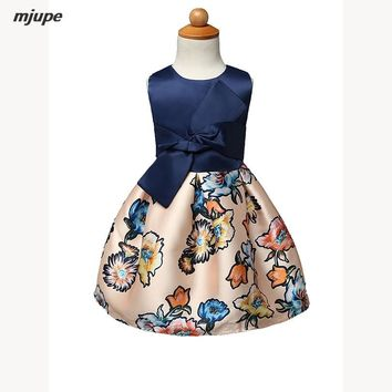 pageant dresses for little girls print flower girls dresses real photo cotton vintage girls ball gowns height for 100-140cm
