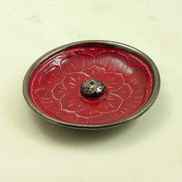 Red Lotus Incense Burner Handmade Raku Ceramic Pottery