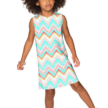 Chevron Please Adele Cute Babydoll Shift Dress - Girls