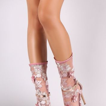 Floral Applique Buckled Ankle Strap Stiletto Mid Calf Boots