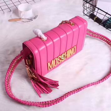 MOSCHINO WOMEN'S LEATHER TASSEL HANDBAG SHOULDER BAG