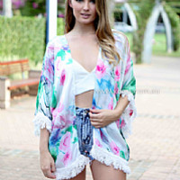 MINERVA TASSEL CAPE , DRESSES, TOPS, BOTTOMS, JACKETS & JUMPERS, ACCESSORIES, 50% OFF END OF YEAR SALE, PRE ORDER, NEW ARRIVALS, PLAYSUIT, COLOUR, GIFT VOUCHER,,Green,Print,SHORT SLEEVE Australia, Queensland, Brisbane