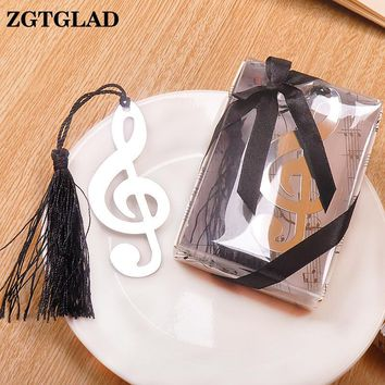 ZGTGLAD Hollow Musical Notes Bookmarks Metal With Mini Greeting Cards Tassels Pendant Gifts Wedding Favors With Retail Box