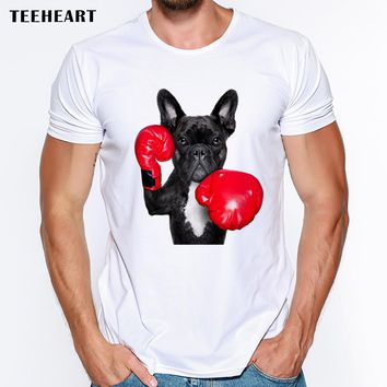 2017 Cool New Retro Men's funny French Bulldog Print T shirt Summer Hipster Brand Graphics  Top Tees pb504