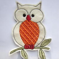 Iron On Patch, Owl Patch, Owl Applique, Orange Bellied Owl, Owl Clothing ,Scrapbooking, Embroidered Patch