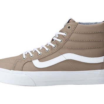 Vans SK8-Hi Slim Zip (Chambray Dots) Dune/Twill - 6pm.com