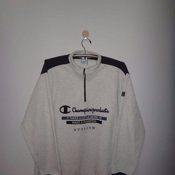 Vintage Champion Product Half Zipper Stylish 1990s Long Sleeve Tee Streetwear