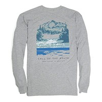 Long Sleeve Call of the South Tee in Heather Grey by Southern Proper