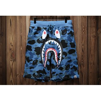 AAPE 2018 summer new wave brand shark camouflage printed loose five points shorts F-A-KSFZ Blue