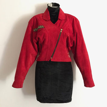 Vintage 1990s 'Julio Valde's' cropped, ruby red suede jacket with asymmetric zippered front, pockets and brocade trim