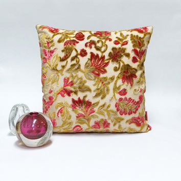 Floral velvet decorative pillow - Handmade with Love from vintage upholstery fabrics