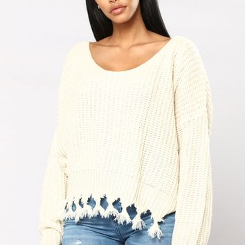 Clayton Long Sleeve Sweater - Ivory