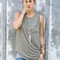 The Lonely Road Olive Relaxed Sleeveless Top With Front Pocket
