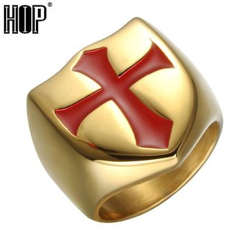 HIP Hop Mens Chunky Red Cross Ring Gold Color Stainless Steel Knights Templar Armor Rings For Men