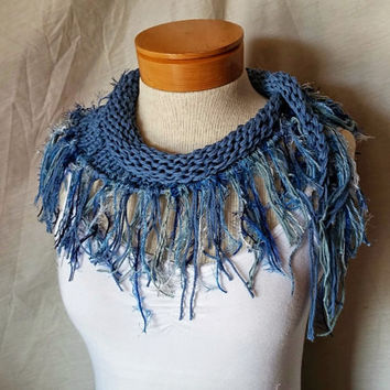 Sky blue knit cotton scarf Fluffy fringe Spring fashion cowl neck Light weight triangle shawl Bib scarf