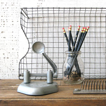 2 hole punch grey metal industrial - modern farmhouse - office or desk decor display
