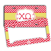 CHI OMEGA - THIN RED CHEVRON WITH YELLOW - ChiO LICENSE PLATE