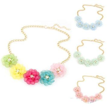 Sweet Women's Fresh Style 5 Big Flowers Candy Color Statement Collar Chain Necklace