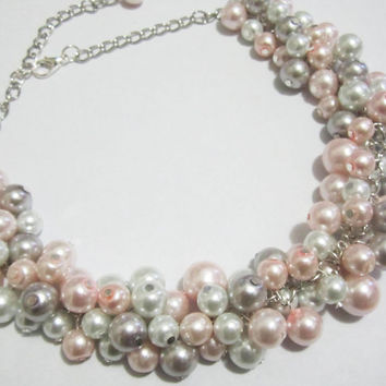 White, Gray and Blush Pink Cluster Necklace, Beaded Bridesmaid Necklace, Bridal Jewelry, Chunky Pearl Necklace