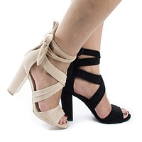 Morris16 By Wild Diva, Peep Toe Strappy Leg Wrap High Block Heeled Sandals