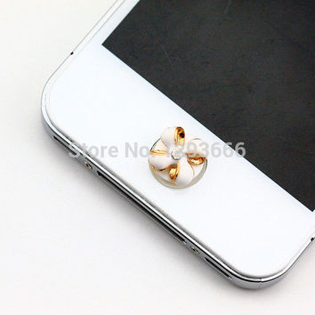 bowknot home button sticker for iphone 6/4s/5/5s plus sticker pearl rhinestone phone decoration accessory