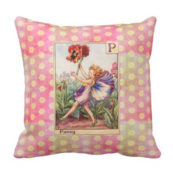 P is for Pansy Throw Pillow