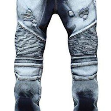 Men's Gradient Biker Moto Ripped Distressed Fashion Skinny Fit Denim Jeans 1766 W32