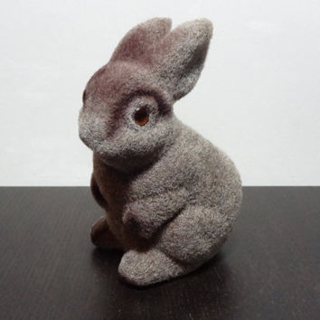 Vintage Fuzzy Bunny Bank, Flocked Bunny - Children's Room or Easter Decor
