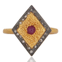 18Ct Gold Plated Solid 925 Sterling SIlver Ring Real Pave Diamond Ruby Engagemen